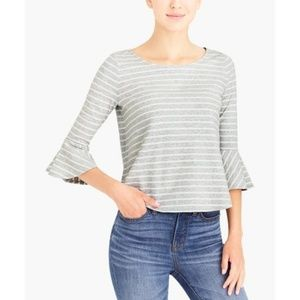 J. Crew Mercantile Striped Bell Sleeve Top